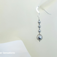 Light Grey Pearl Wedding Earrings With Swarovski Pearls & Sterling Silver