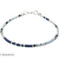 "13"" Navy Blue, Pastel Blue & Silver Seed Bead Layering Anklet"