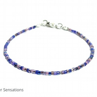 "9"" Purple Mix Seed Bead Dainty Boho Anklet, Purple Surfer Anklet, Beach Anklet"