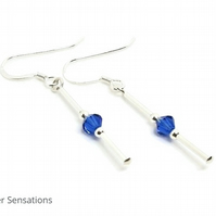 Blue Sapphire Crystal Earrings With Swarovski Crystals & Sterling Silver Tubes
