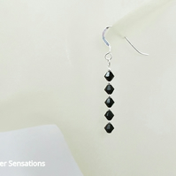 Black Crystal Sterling Silver Earrings With Swarovski Crystals