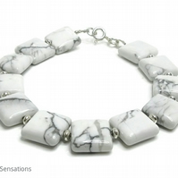White Howlite Squares Bracelet With Sterling Silver - White Beaded Bracelet