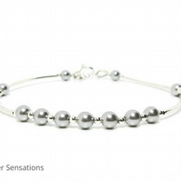 Light Grey Pearls Dainty Bangle Bracelet With Swarovski Pearls & Sterling Silver