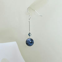Dark Blue Sodalite Earrings With Swarovski Crystals & Sterling Silver Tubes