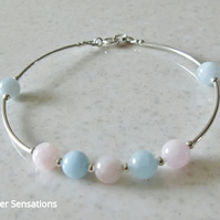 Natural Pastel Pink & Blue Morganite Bracelet With Sterling Silver Curved Tubes