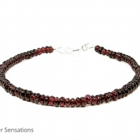 Dark Burgundy Red Dainty Garnet Stacking Bracelet - Perfect For Layering