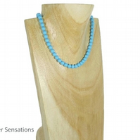 Turquoise Swarovski Pearls Handmade Bridesmaid Necklace - Pearl Anniversary Gift