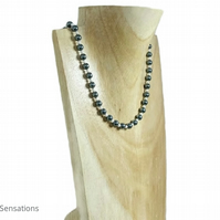 Tahitian Grey & White Pearls Wedding Necklace - 30th Wedding Anniversary Gift