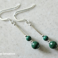 Natural & Genuine Stripey Green Malachite Earrings & Sterling Silver Tubes
