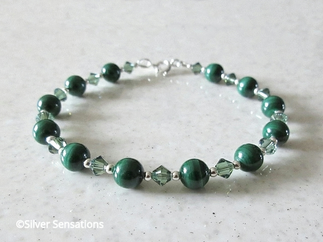 Bottle Green Malachite Gems Bracelet With Swarovski Crystals & Sterling Silver