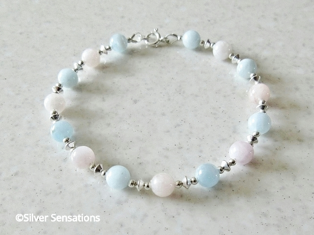 Natural Pink & Blue Morganite Gemstones Bracelet With Sterling Silver