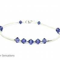 Sparkly Light Purple Crystal Bangle Bracelet With Swarovski Crystals & Silver