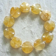 Yellow Orange Golden Jade Wavy Coins Stretch Bracelet & Sterling Silver Beads