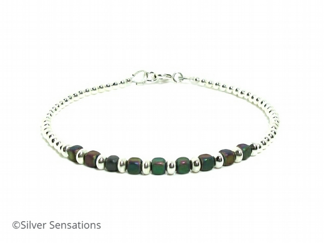 Dainty Rainbow Hematite Cubes Bracelet With Sterling Silver Beads