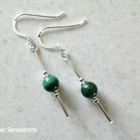 Genuine Dark Green Malachite Earrings With Sterling Silver Tubes