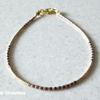 "Slim Golden & Glossy Bronze Seed Bead Layering Friendship Bracelet - 6.5"" - 8"""