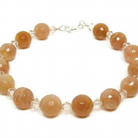 Faceted Peach Sunstone Beaded Bracelet With Swarovski Crystals