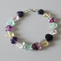 Rainbow Fluorite Hearts Bracelet With Sterling Silver Beads