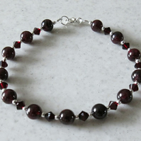 Burgundy Red Garnet Bracelet With Swarovski Crystals & Sterling Silver