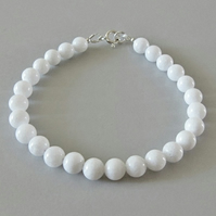 Brilliant White Agate Beaded Bracelet - Slim Stacker Bracelet