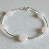 Rose Quartz Coins Bangle Bracelet With Sterling Silver