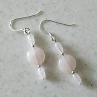Rose Quartz Coin Earrings With Sterling Silver - Earrings Under 10