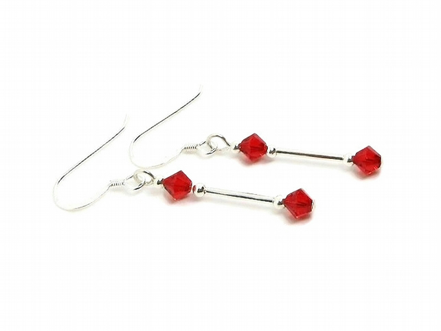 Slim Red Crystal Earrings With Swarovski Elements