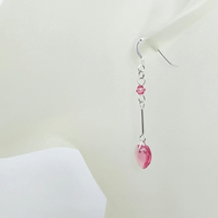 Pink Handmade Swarovski Heart Earrings With Sterling Silver Tubes