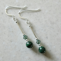 Elegant Green Natural Malachite Earrings With Sterling Silver Tubes