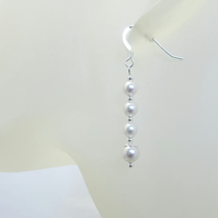 White Pearls & Sterling Silver Drop Earrings With Swarovski Pearls