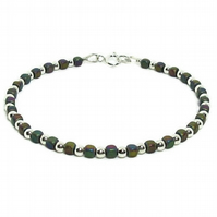 Ultra Slim Rainbow Hematite Cube Beads Bracelet With Sterling Silver