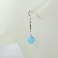 Aquamarine Blue Jade Earrings With Swarovski Crystals & Sterling Silver Tubes