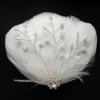 WHITE Feather Bridal HAIR CLIP Pearl Beaded Vines Crystal Fascinator Wedding