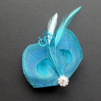 Turquoise Blue Peacock Feather Hair Clip Fascinator Bridesmaid Accessory Amelia