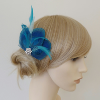 Turquoise Blue Peacock Feather Hair Clip Crystal Fascinator Wedding 'Lizbeth'