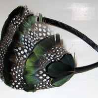 Green, Black & White Spotted FEATHER HEADBAND Fascinator Hairband 'Emily'