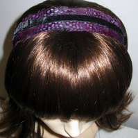 Purple & Black Velvet FEATHER HEADBAND Fascinator Spotted Feathers Hairband