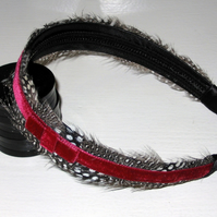Crimson Red White and Black Velvet FEATHER HEADBAND Fascinator Spotted Hairband