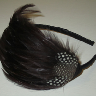 Chocolate Dark Brown Spotted FEATHER HEADBAND Black Fascinator Bridesmaid 'Gwen'