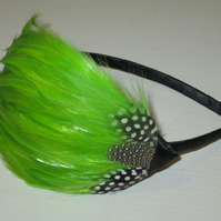 Lime Green Spotted FEATHER HEADBAND Black Fascinator Bridesmaid 'Gwen'