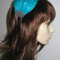 Turquoise Blue Spotted FEATHER HEADBAND Black Fascinator Bridesmaid 'Gwen'