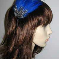 Royal Blue Spotted FEATHER HEADBAND Fascinator Black Hairband Bridesmaid 'Gwen'