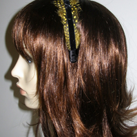 Yellow & Black Velvet FEATHER HEADBAND Fascinator Spotted Feathers Hairband