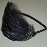 Dark Purple Aubergine FEATHER HEADBAND Fascinator Black Hairband Bridesmaid Gwen