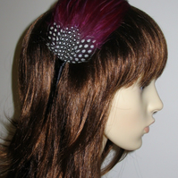 Plum Purple Aubergine FEATHER HEADBAND Fascinator Black Bridesmaid Hair 'Gwen'
