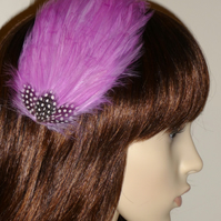 Orchid Pink Black FEATHER HAIR CLIP Fascinator Bridesmaids 'Gwen'