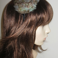 Duck Egg Blue Light Brown Feather Fascinator Black Headband Hairband 'Beth'