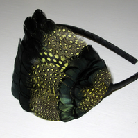 Yellow, Dark Green & Black Spotted Feather Fascinator Headband Hairband 'Athena'