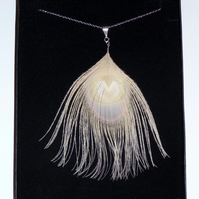"Bleached Peacock Feather Pendant Fine Silver Plated Chain NECKLACE 18"" Long"