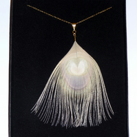 "Bleached Cream Peacock Feather Fine Gold Plated Chain NECKLACE 18"" Bridesmaids"